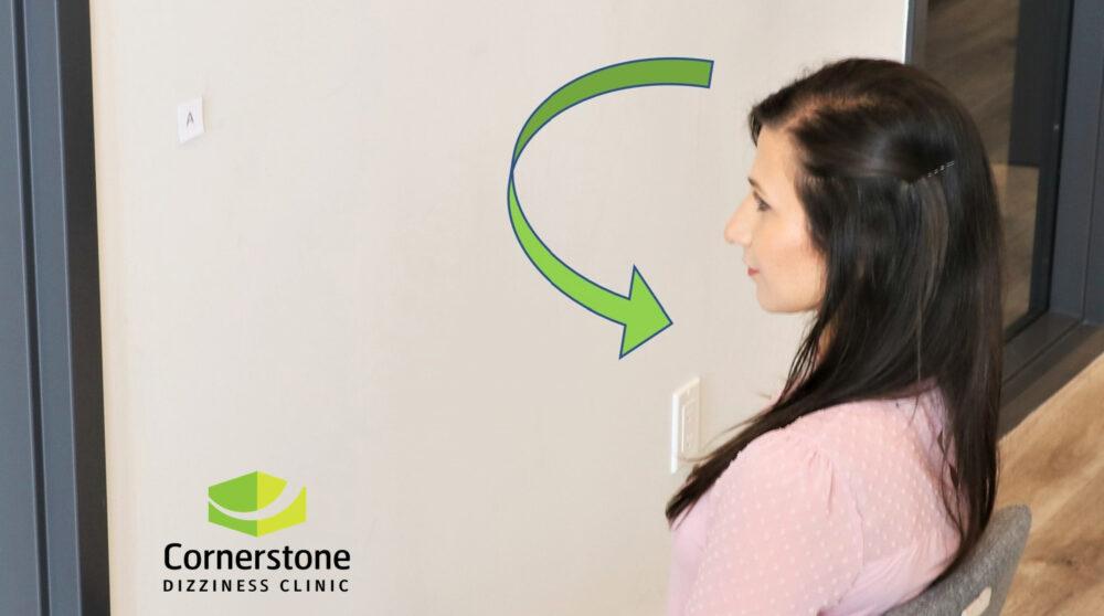 Vestibular rehabilitation exercise at Cornerstone Dizziness clinic in Toronto
