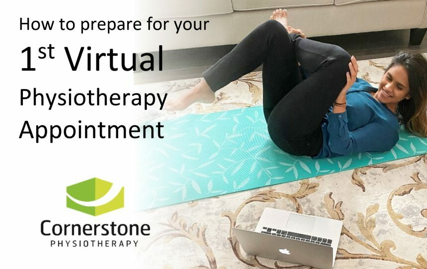 physiotherapist Rosalina Mehendran demonstrating a stretch during a virtual physio appointment