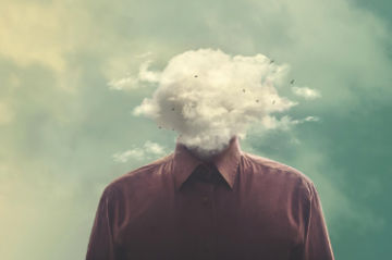 fog cloud in place of a person's head brain